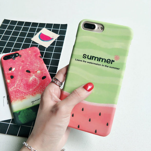 IPWSOO Cute Phone Case For IPhone 6 6S 7 8 Plus X Case Watermelon Summer Fruit Letter Pattern Matte Hard PC For IPhone 7 Cover