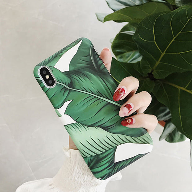 IPWSOO Tropical Leaves Phone Case For IPhone 6 6S 7 8 Plus X Case Green Banana Leaf Pattern Hard PC Phone Case For IPhone 7 Case