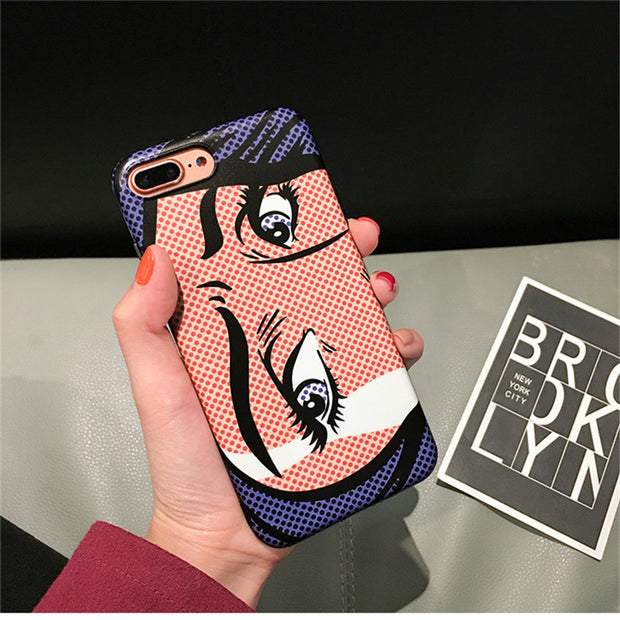 Ins Hot Cartoon Eyes Case For Iphone X 7 7Plus Soft Silicon Case For Iphone 6 6s 6Plus 6splus 8 8plus Back Cover