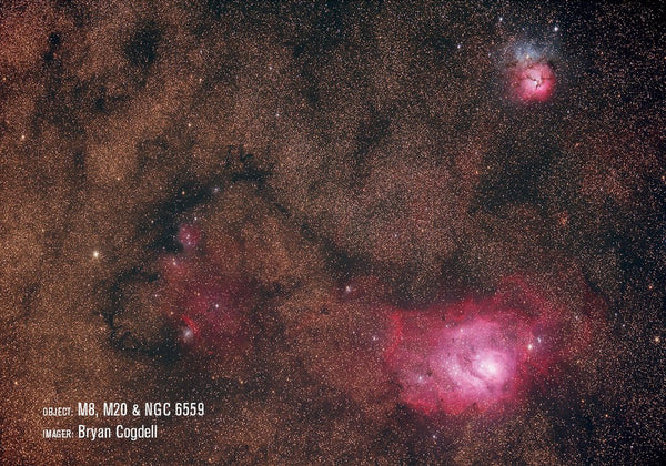 M8, M20 and NGC6559 with RASA 11""
