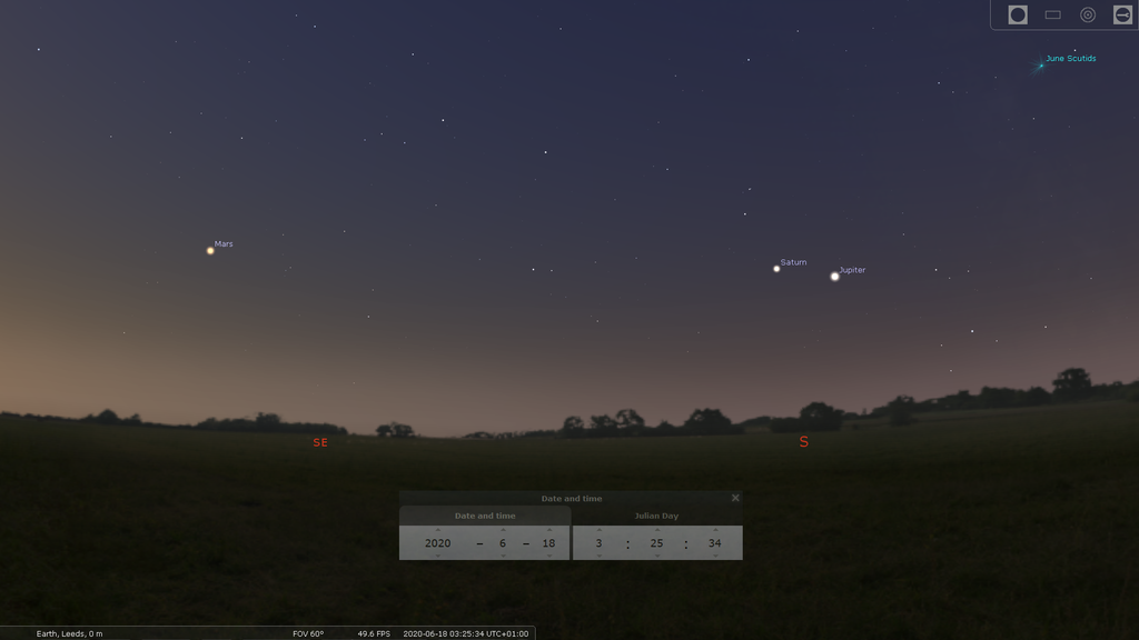 Mars Jupiter and Saturn in June evening sky