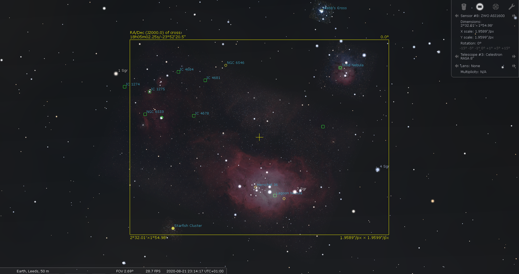 Lagoon and Triffid nebula in Sagittarius