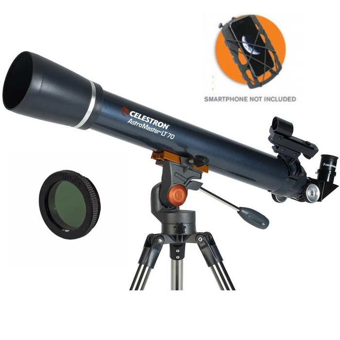 Celestron AstroMaster LT 70 AZ Refractor with Smartphone Adaptor and Moon Filter