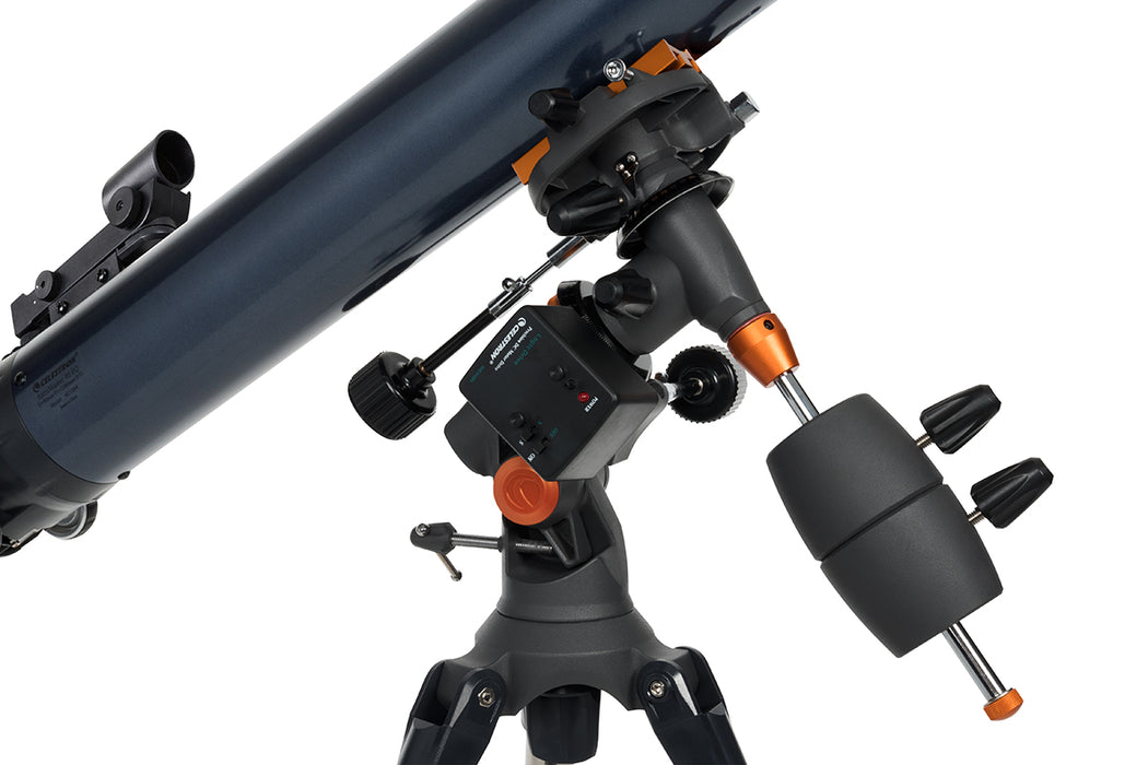 Celestron AstroMaster 80EQ-MD Refractor Telescope with Motor Drive and Smartphone Adaptor - showing motordrive