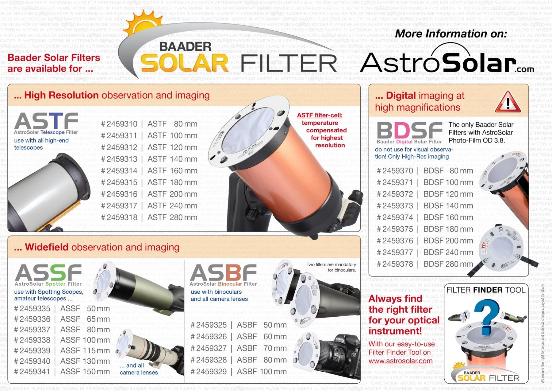 Baader ASTF: AstroSolar Telescope Filter OD 5.0 (80mm - 280mm)