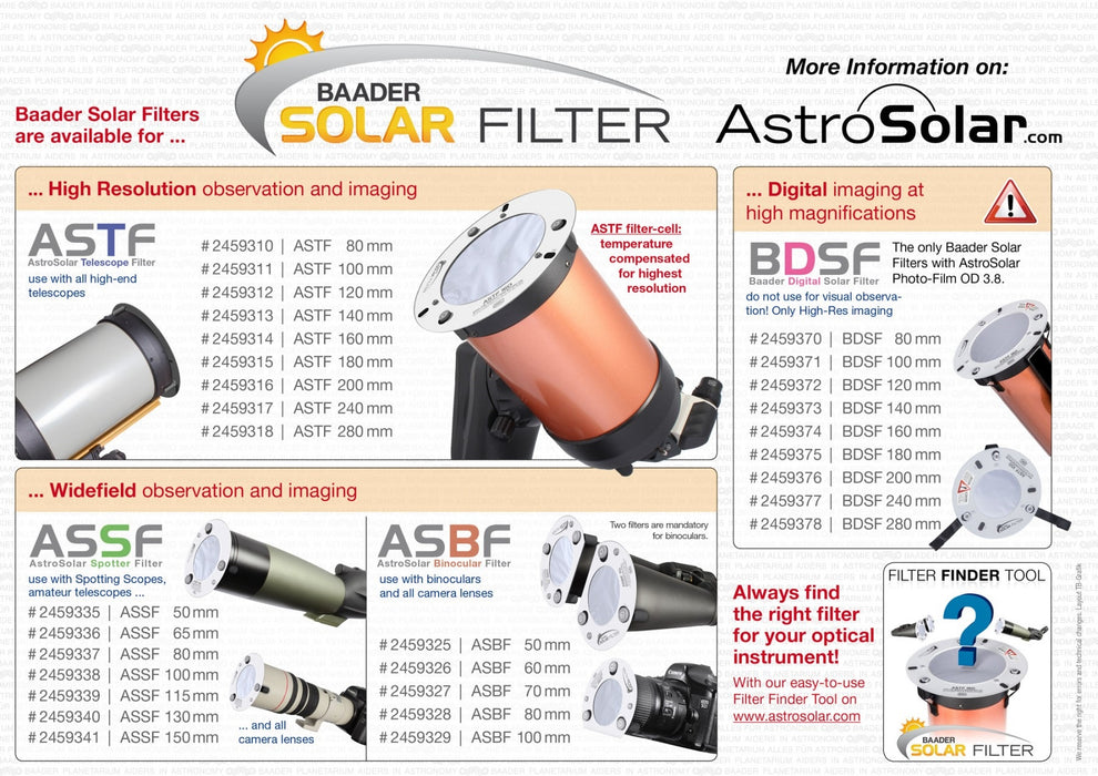 ASSF: AstroSolar Spotting Scope Filter OD 5.0 (50mm - 150mm)