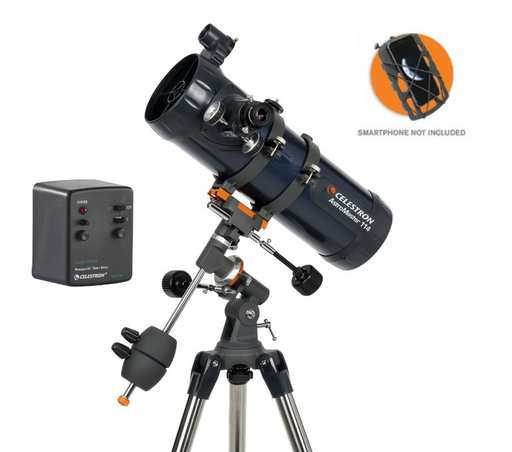 Celestron AstroMaster 114EQ-MD Telescope with Motor Drive and Smartphone Adaptor