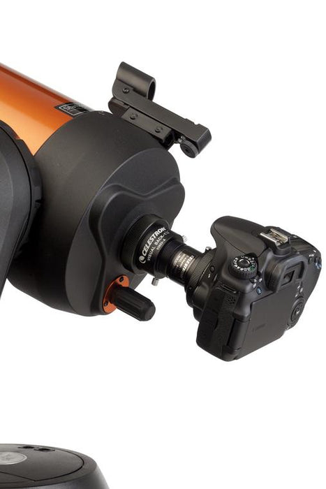 "Celestron Universal 1.25"" T-Adaptor attached to a telescope"
