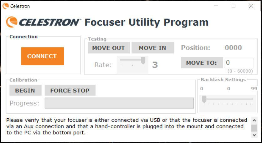 Celestron Focus Motor Control Software