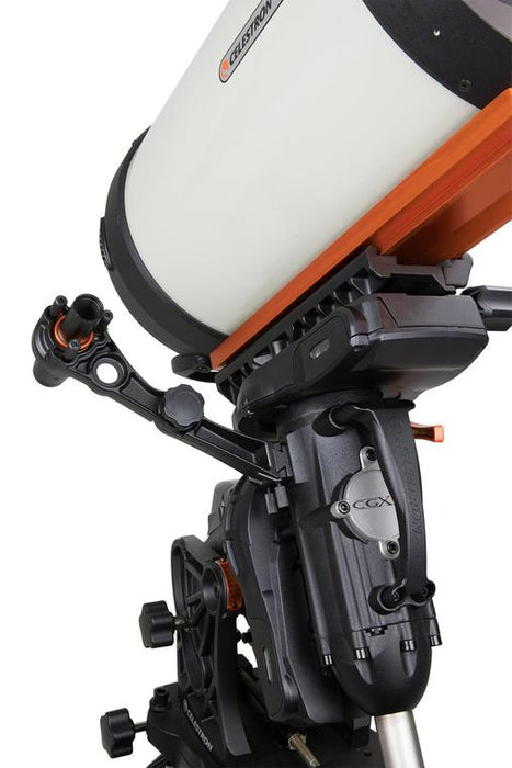 Celestron Polar Axis Finderscope for CGX and CGX-L Mounts - front view attached to a CGX Series mount