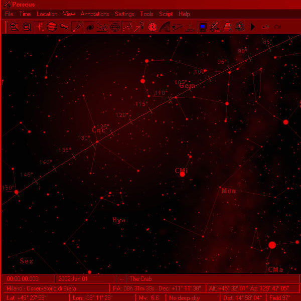 Perseus Level III Astronomy Software Screen Shot Night Time Mode