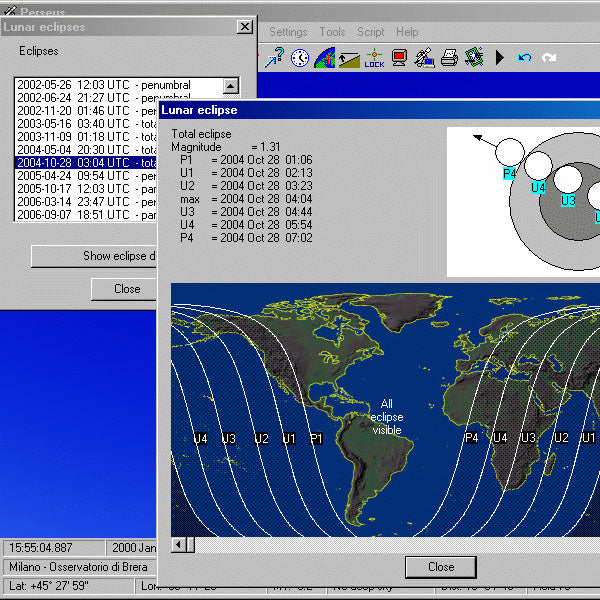 Perseus Level III Astronomy Software Screen Shot of an eclipse event