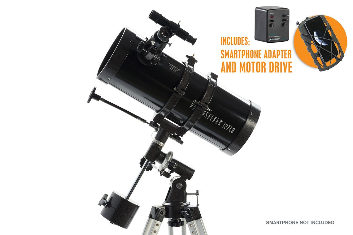 "Celestron PowerSeeker 127EQ with included Motor Drive and 1.25"" Smart Phone Adaptor"