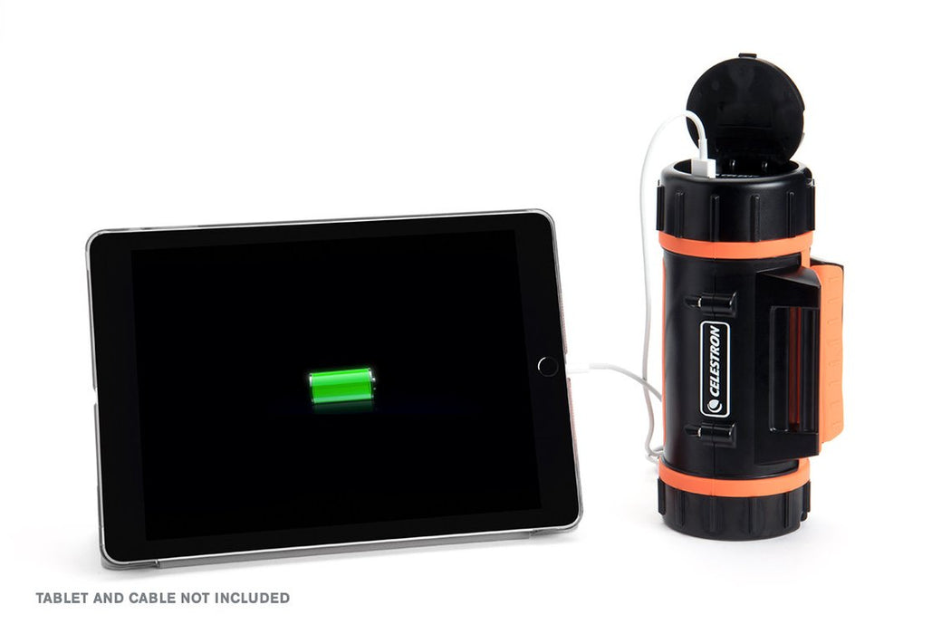 Celestron PowerTank Lithium - with an electronic accessory attached being charged up