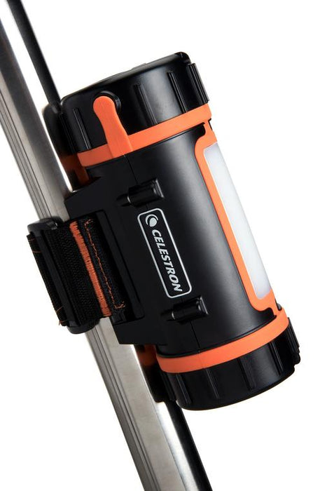 Celestron PowerTank Lithium - attached to a tripod leg with supplied velcro strap