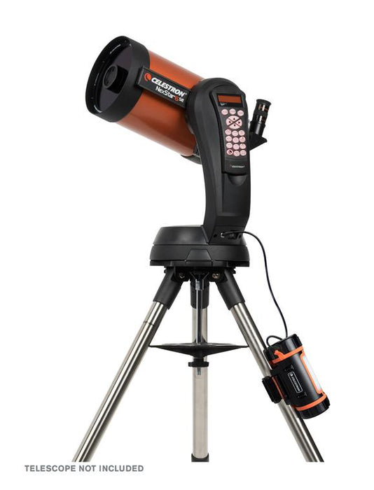 Celestron PowerTank Lithium - attached to and powering a telescope