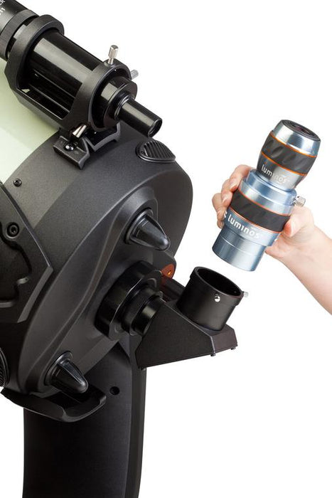 "Celestron Luminos 2"" 2.5x Barlow Lens - barlow and eyepiece being inserted into a telescope"