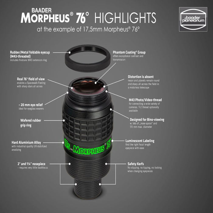 Baader Morpheus 76° Eyepiece Set (Complete) - eyepiece features