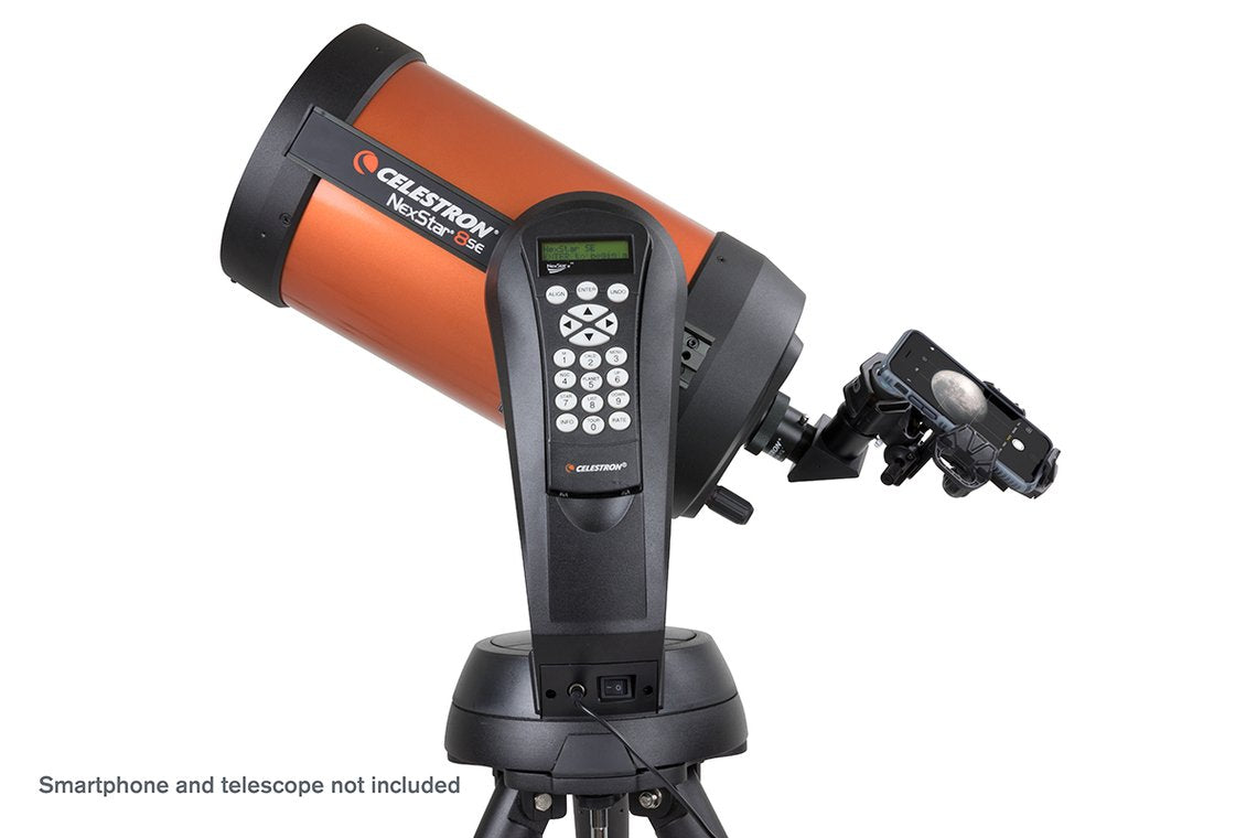 Celestron NexYZ 3-Axis Universal Smartphone Adaptor with smartphone (not included) attached to a Celestron Nexstar telescope