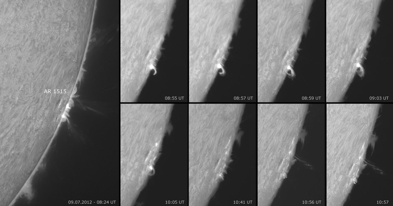 Solar Spectrum Solar Observer H-Alpha image sequence of a solar flare development over 2 hours