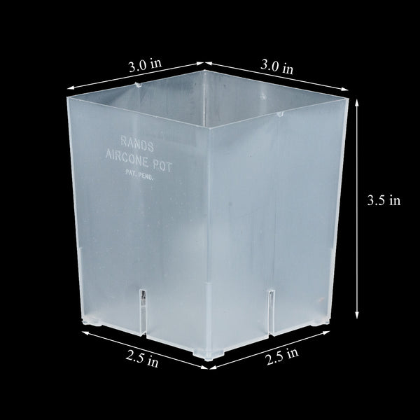 RANDS Aircone Pots - Clear Square - 3 inch Orchids Pots - Qty 10