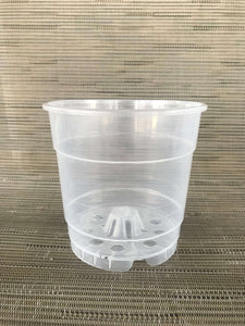 "Clear Round Orchid Pots with Drainage Holes - 4.5"" tall x 4.5"" wide"