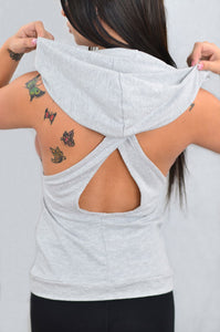 Cross Back Sleeveless Hoodie