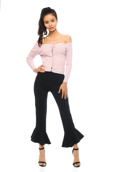 Flare Ruffle Ponte Pants in Black