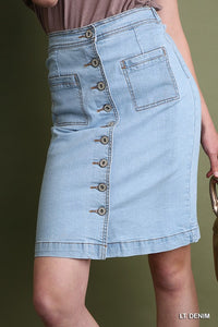 Umgee | Button Front Denim Pencil Skirt Lightwash