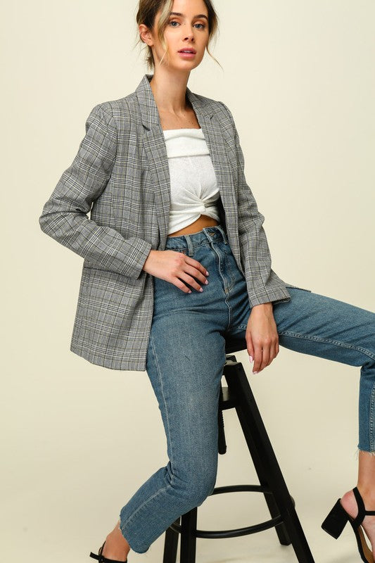 Power Suiting Plaid Blazer White/Black/Yellow