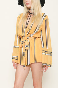 LATISTE | FLARE CUFFS & STRIPES WRAP ROMPER IN HOT MUSTARD