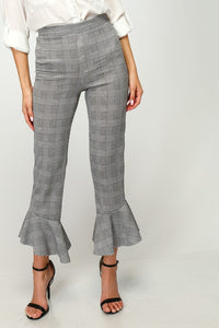 Flare Ruffle Ponte Pants in Black/White Plaid
