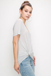 DOUBLE ZERO | Essential V-neck Tee in Stone Washed Light Grey