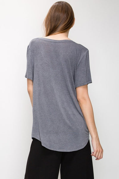 DOUBLE ZERO | Essential V-neck Tee in Charcoal