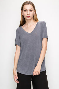Women's V-neck Basic Short Sleeve T-shirt