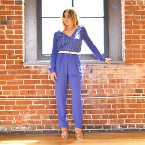 70's Chic Belted Jumpsuit in Little Boy Blue