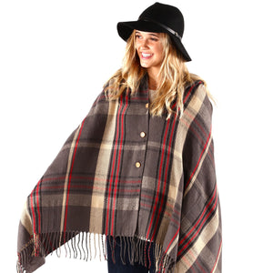 PRETTY SIMPLE | Button Up Poncho Cape in Dark Gray Plaid