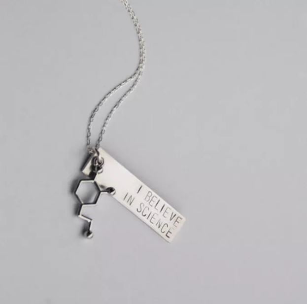 BANG-UP BETTY | I Believe In Science Molecule Necklace in Silver