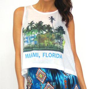Miami Graphic Tank Top in White