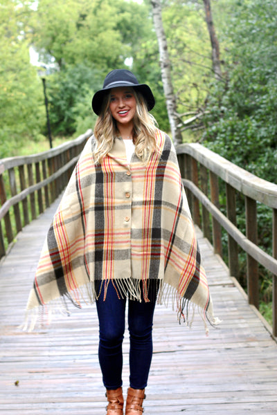 PRETTY SIMPLE | Button Up Poncho Cape in Camel Plaid
