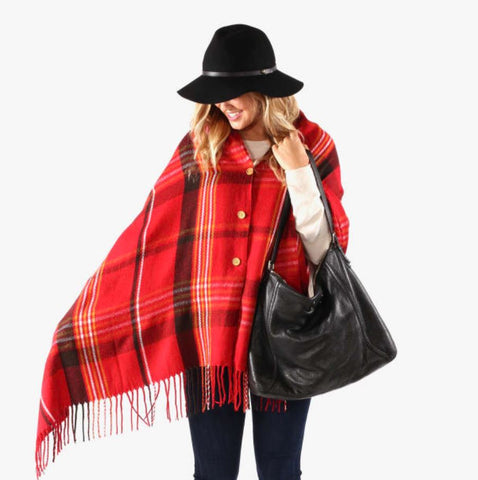 PRETTY SIMPLE | Button Up Poncho Cape in Red Plaid
