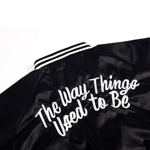 THE WAY THINGS USED TO BE | Satin Baseball Bomber in Black