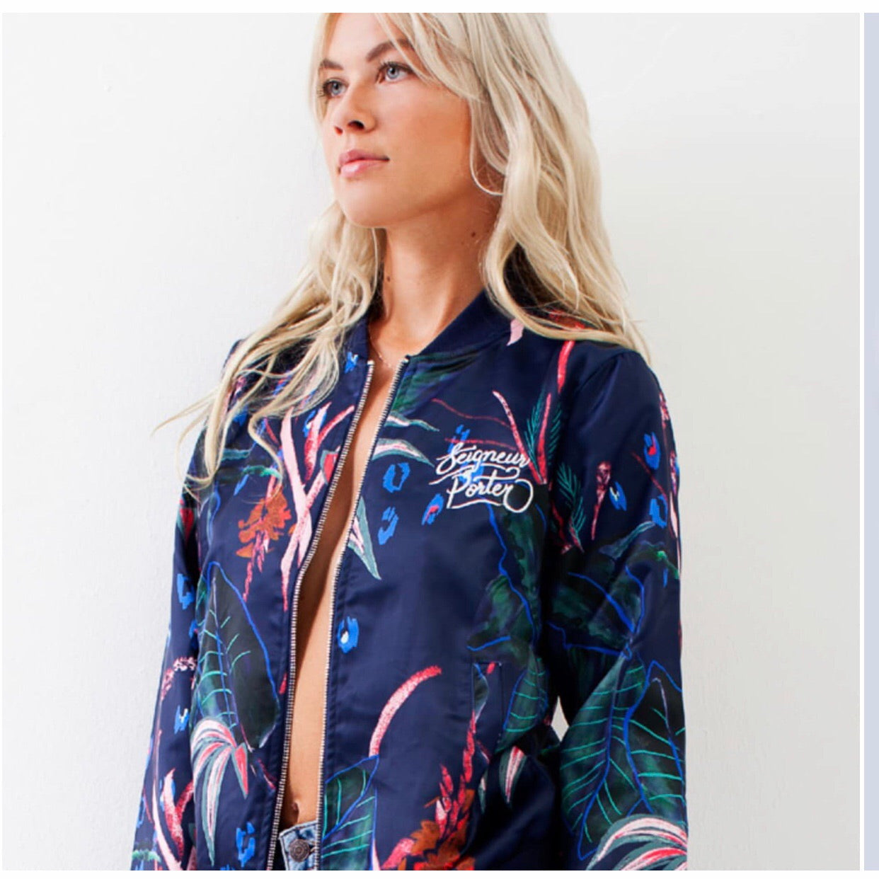 SEIGNEUR PORTER | Bundy Dark Tropics Allover Print Bomber Jacket
