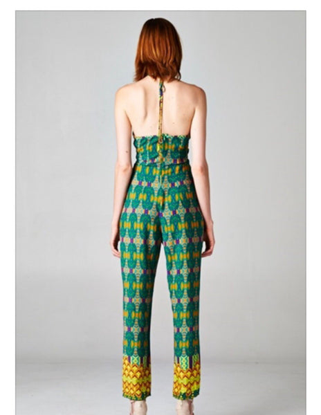 Emerald Safari Halter Jumpsuit in Green/Yellow