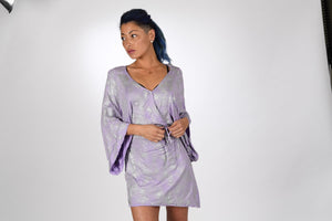 VICTROLA designs | Mini Kimono Wrap Dress in Lavender/Silver