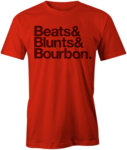 Beats&Blunts&Bourbon. | Men's OG Graphic Tee In Red & Black
