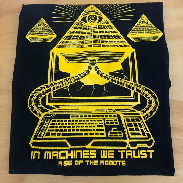 RISE OF THE ROBOTS | In Machines We Trust Tee Black/Yellow