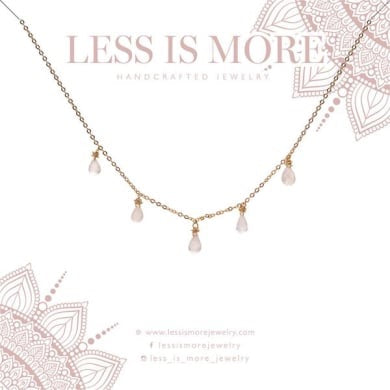 "LESS IS MORE | Moonstone Drop Confetti Necklace | 16"" None Extender 