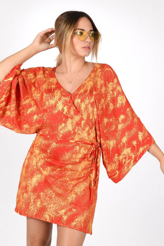 VICTROLA designs | Mini Kimono Wrap Dress in Orange Poppy/Gold