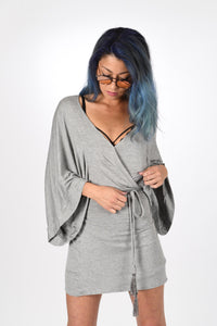 VICTROLA designs | Mini Kimono Wrap Dress in Heather Grey